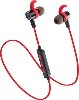 LAX Gadgets Sweatproof Bluetooth Wireless Sports Earbuds with SecureFit Tips and Mic Red - LAX Gadgets Headphones & Speakers