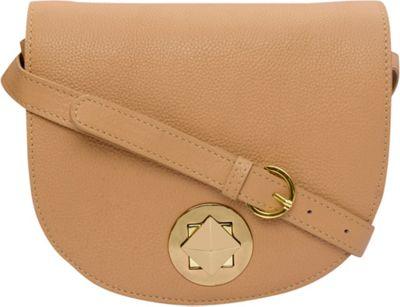 Phive Rivers Turn Lock Flapover Leather Crossbody Tan - Phive Rivers Leather Handbags
