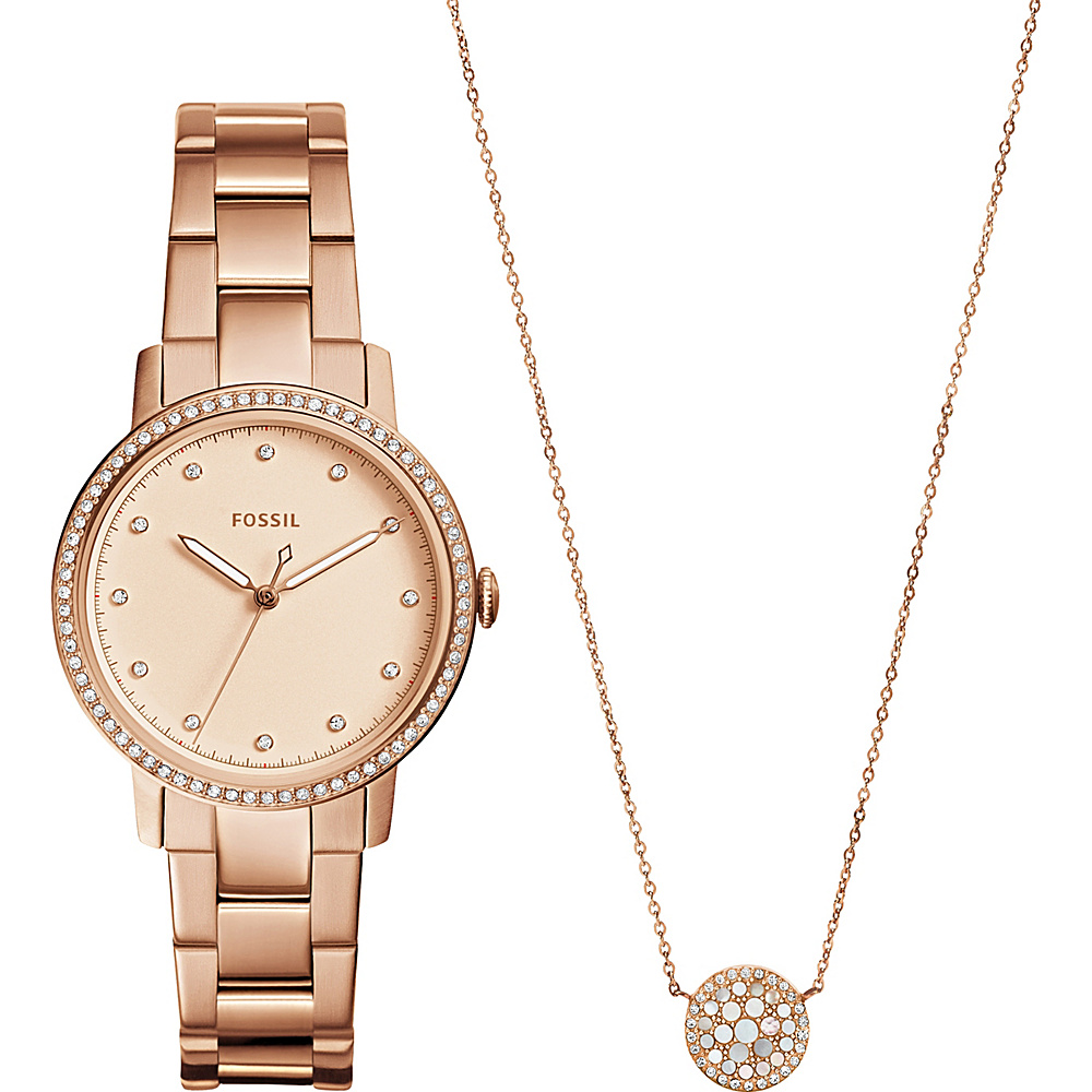 Fossil Neely Three-Hand Stainless Steel Watch and Jewelry Box Set Rose Gold - Fossil Watches - Fashion Accessories, Watches
