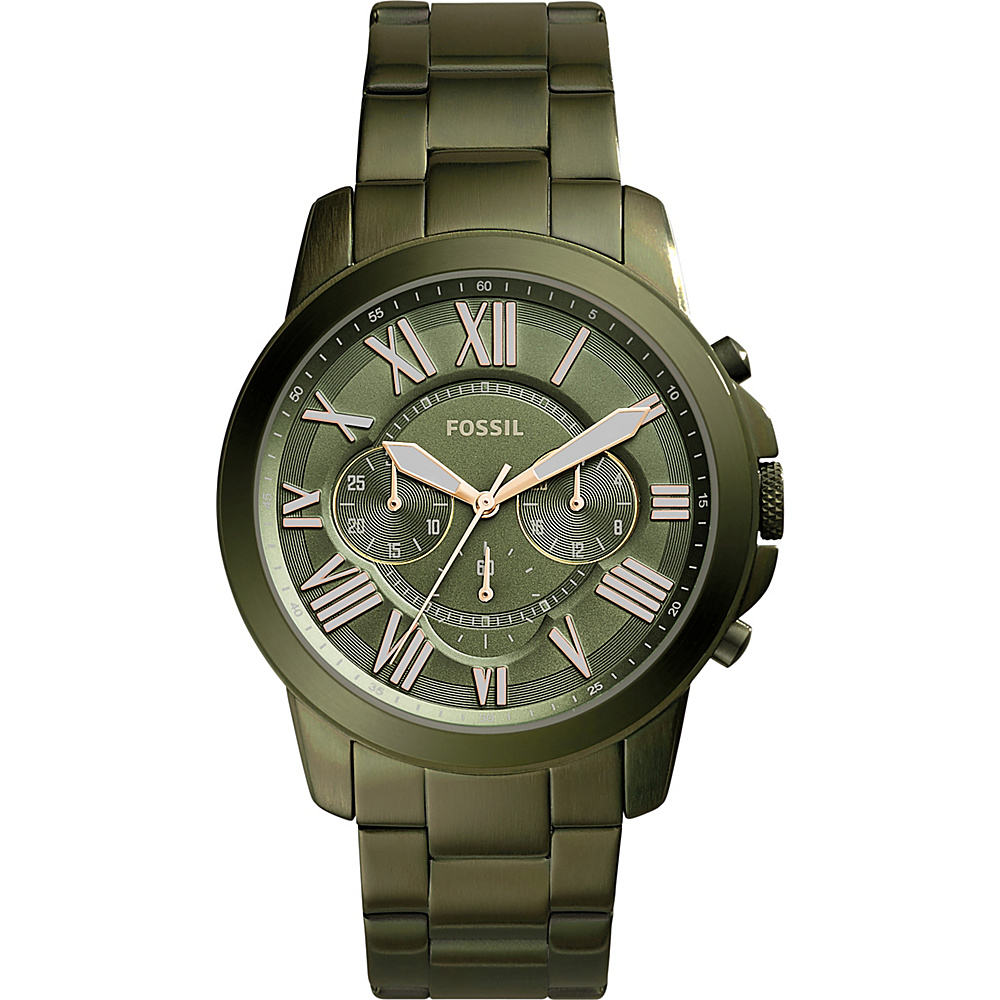 Fossil Grant Chronograph Stainless Steel Watch Green - Fossil Watches - Fashion Accessories, Watches
