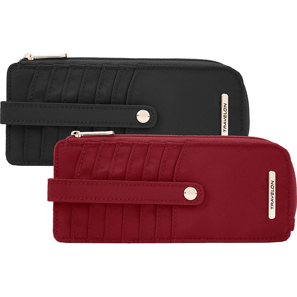 Travelon Set of 2 RFID Anti-Theft Tailored Slim Zip Wallets - Exclusive Garnet & Onyx - Travelon Womens Wallets - Women's SLG, Women's Wallets