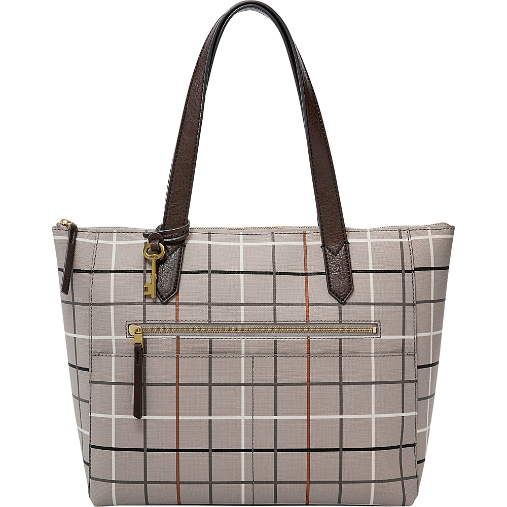 Fossil Fiona EW Tote Grey - Fossil Manmade Handbags - Handbags, Manmade Handbags