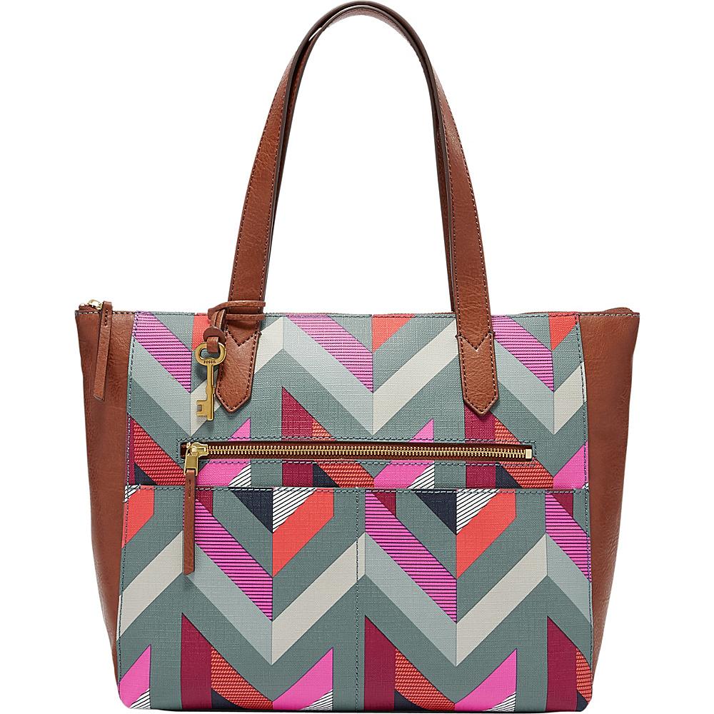 Fossil Fiona EW Tote Chevron Blue - Fossil Manmade Handbags - Handbags, Manmade Handbags