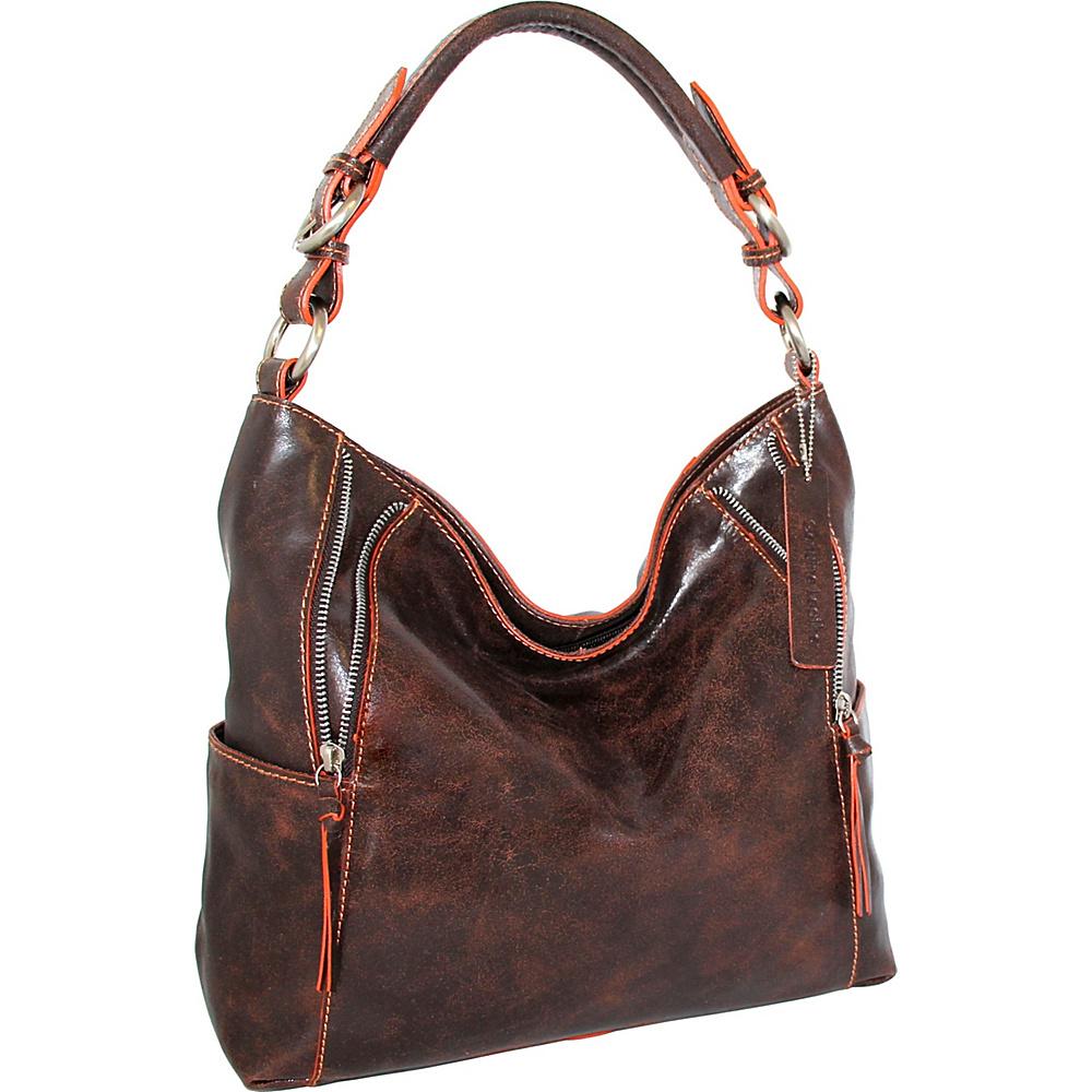Nino Bossi Indira Shoulder Bag Chocolate/Orange - Nino Bossi Leather Handbags - Handbags, Leather Handbags