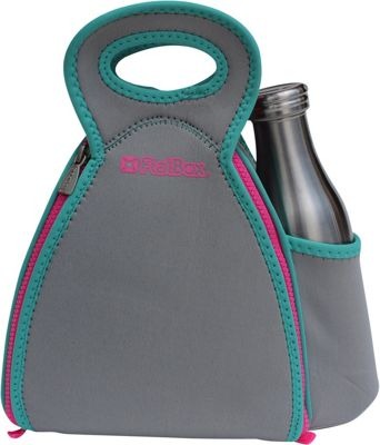 FlatBox DrinX Placemat Lunch Bag Light Gray/Torqouise/Pink - FlatBox Travel Coolers