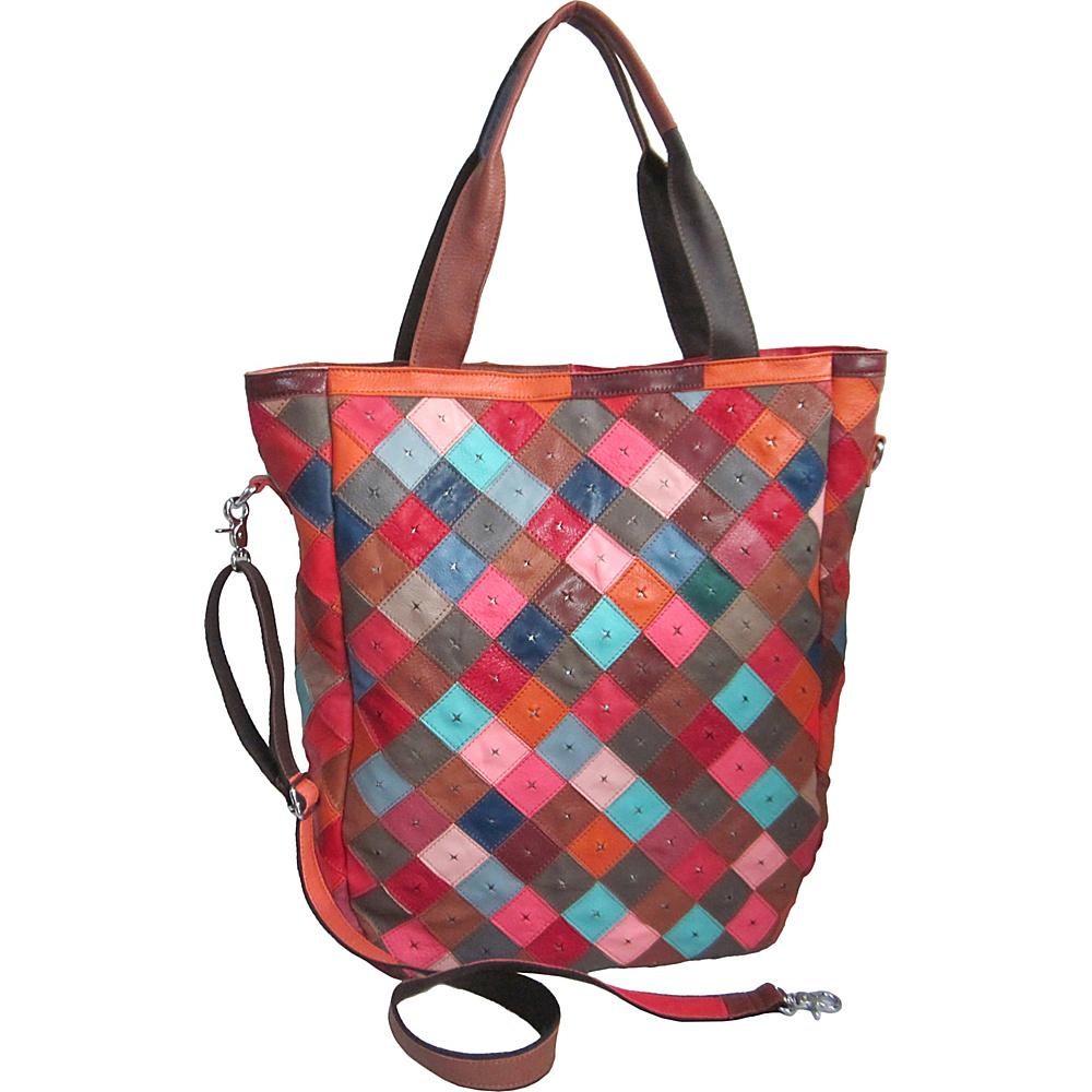 AmeriLeather Perlow Leather Tote Rainbow - AmeriLeather Leather Handbags - Handbags, Leather Handbags