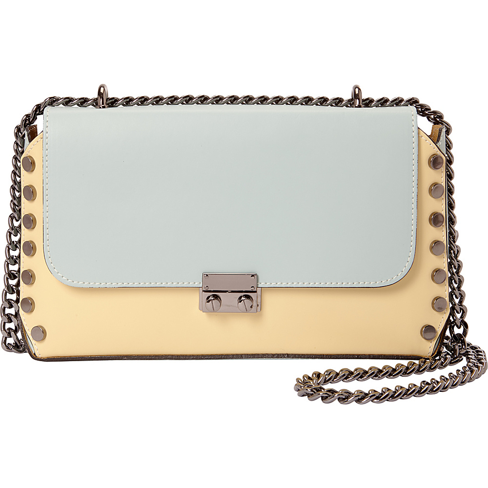Sharo Leather Bags Two Tone Studded Shoulder Bag Yellow Marina Sharo Leather Bags Leather Handbags