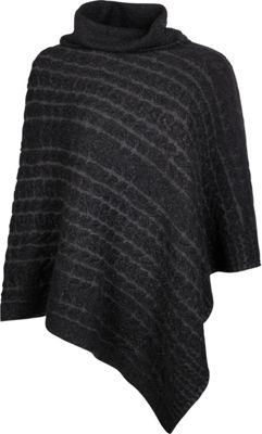 Kinross Cashmere Plaited Cable Poncho One Size  - Black/Charcoal - Kinross Cashmere Women's Apparel