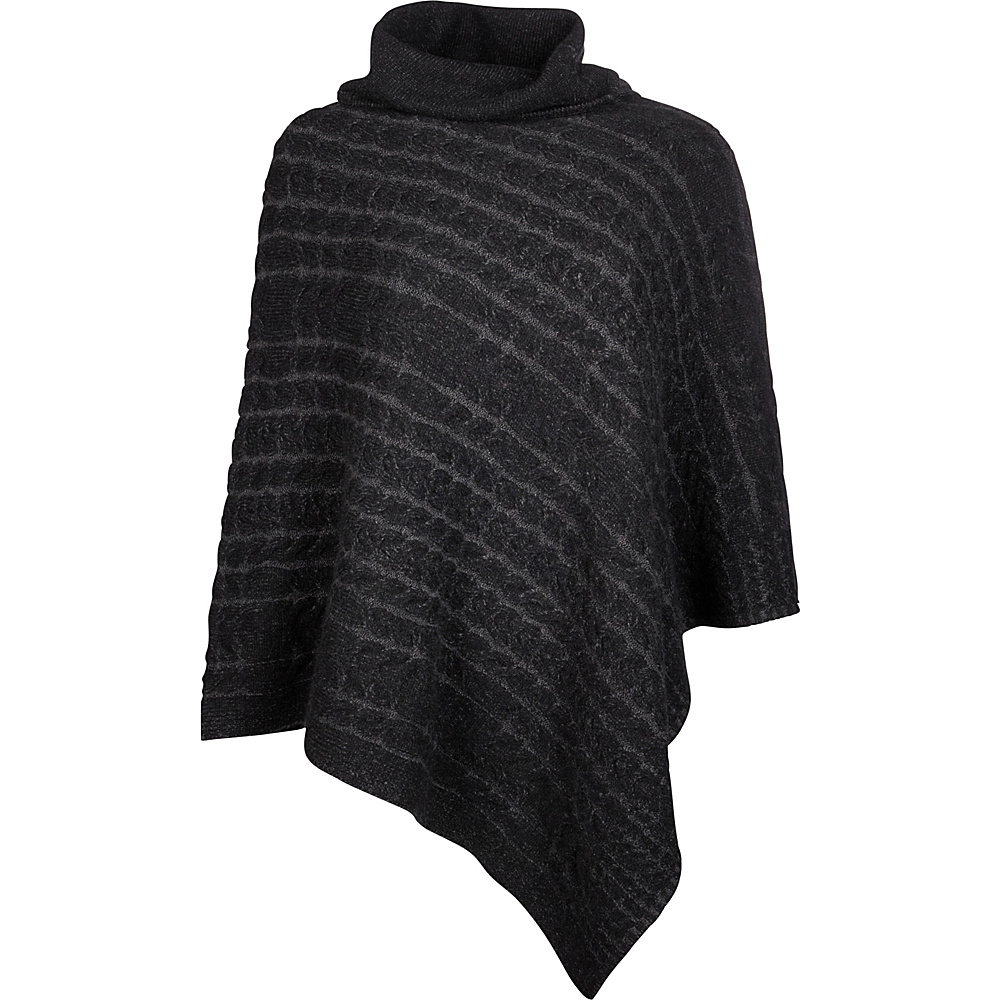 Kinross Cashmere Plaited Cable Poncho One Size  - Black/Charcoal - Kinross Cashmere Womens Apparel - Apparel & Footwear, Women's Apparel