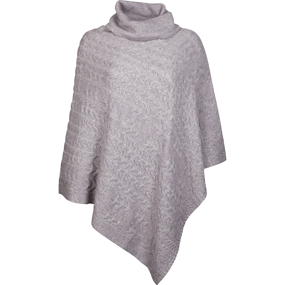 Kinross Cashmere Plaited Cable Poncho One Size  - Thistle/Sterling - Kinross Cashmere Womens Apparel - Apparel & Footwear, Women's Apparel