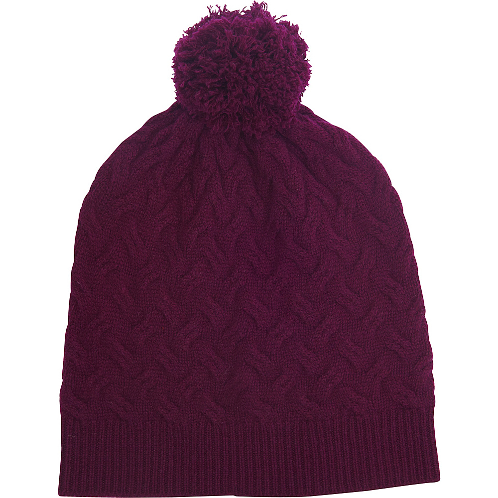 Kinross Cashmere Cable Hat One Size - Cassis - Kinross Cashmere Hats/Gloves/Scarves - Fashion Accessories, Hats/Gloves/Scarves