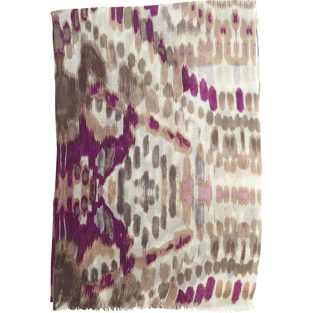 Kinross Cashmere Ikat Print Scarf Orchid Multi - Kinross Cashmere Hats/Gloves/Scarves - Fashion Accessories, Hats/Gloves/Scarves