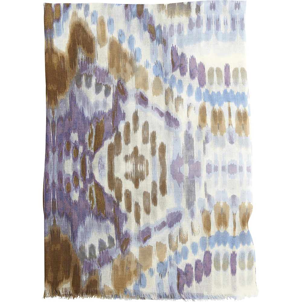 Kinross Cashmere Ikat Print Scarf Thistle Multi - Kinross Cashmere Hats/Gloves/Scarves - Fashion Accessories, Hats/Gloves/Scarves
