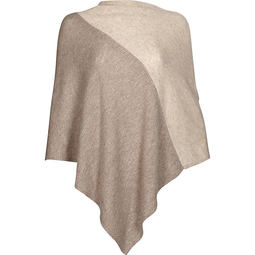 Kinross Cashmere Colorblock Poncho One Size  - Antler/Fawn - Kinross Cashmere Womens Apparel - Apparel & Footwear, Women's Apparel