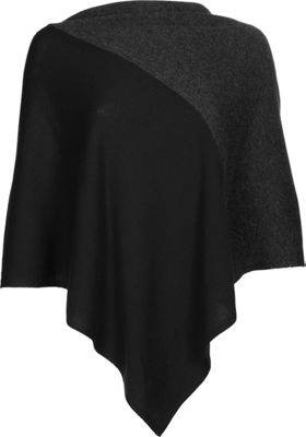 Kinross Cashmere Colorblock Poncho One Size  - Black/Charcoal - Kinross Cashmere Women's Apparel 10622500