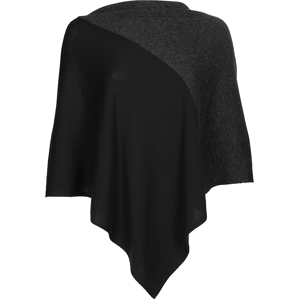 Kinross Cashmere Colorblock Poncho One Size  - Black/Charcoal - Kinross Cashmere Womens Apparel - Apparel & Footwear, Women's Apparel