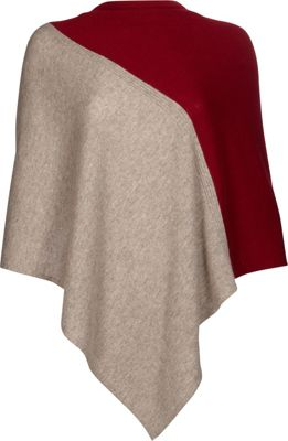 Kinross Cashmere Colorblock Poncho One Size  - Antler/Vermillion - Kinross Cashmere Women's Apparel