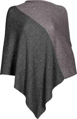 Kinross Cashmere Colorblock Poncho One Size  - Charcoal/Thistle - Kinross Cashmere Women's Apparel