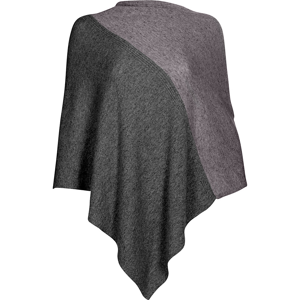 Kinross Cashmere Colorblock Poncho One Size  - Charcoal/Thistle - Kinross Cashmere Womens Apparel - Apparel & Footwear, Women's Apparel