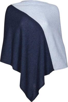 Kinross Cashmere Colorblock Poncho One Size  - Dusk/Ceil ...