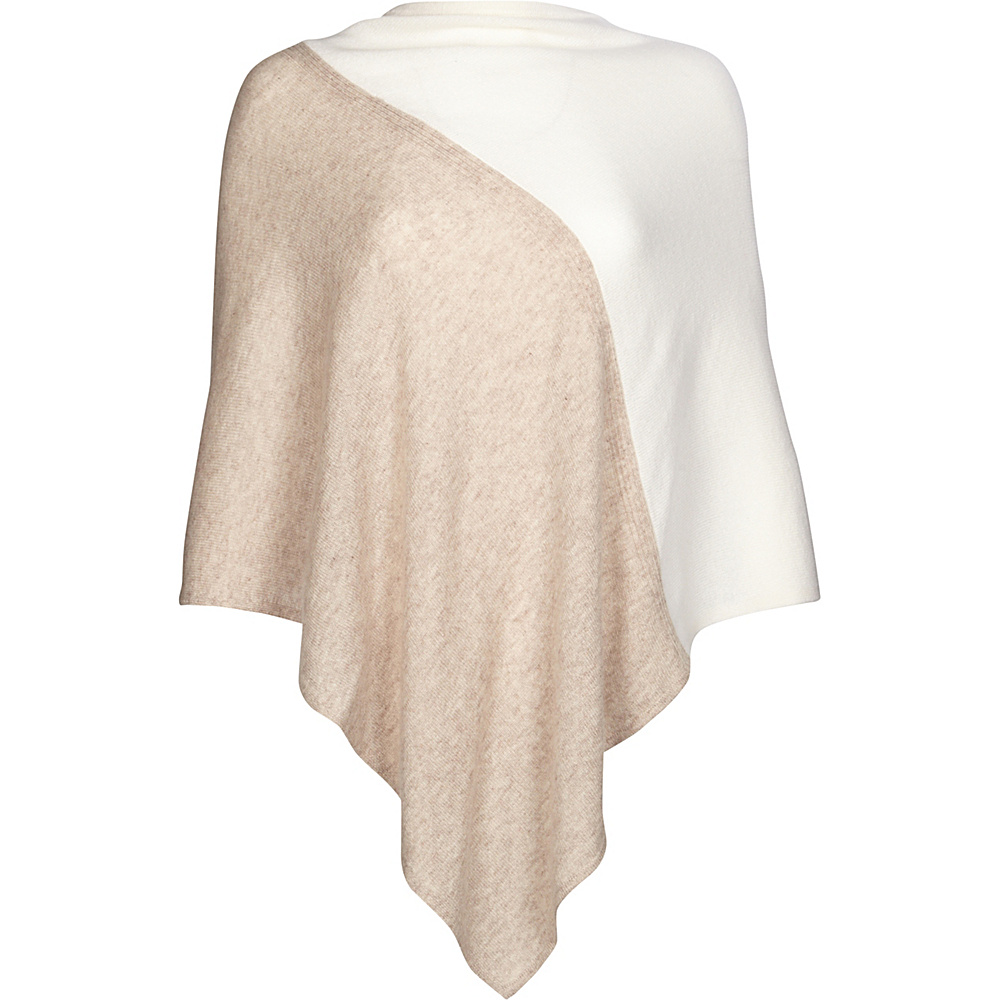 Kinross Cashmere Colorblock Poncho One Size  - Fawn/Ivory - Kinross Cashmere Womens Apparel - Apparel & Footwear, Women's Apparel