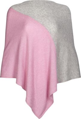 Kinross Cashmere Colorblock Poncho One Size  - Orchid/Sterling - Kinross Cashmere Women's Apparel