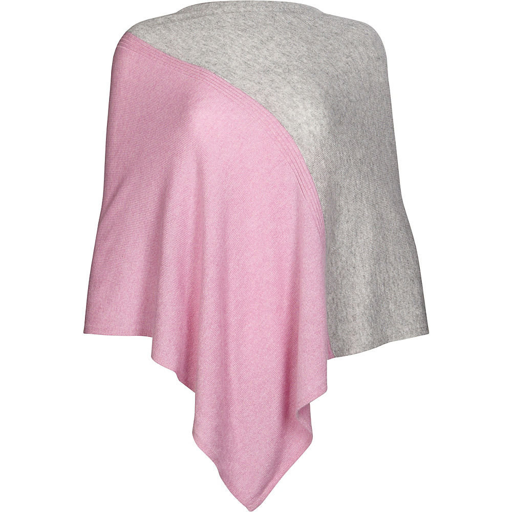 Kinross Cashmere Colorblock Poncho One Size  - Orchid/Sterling - Kinross Cashmere Womens Apparel - Apparel & Footwear, Women's Apparel