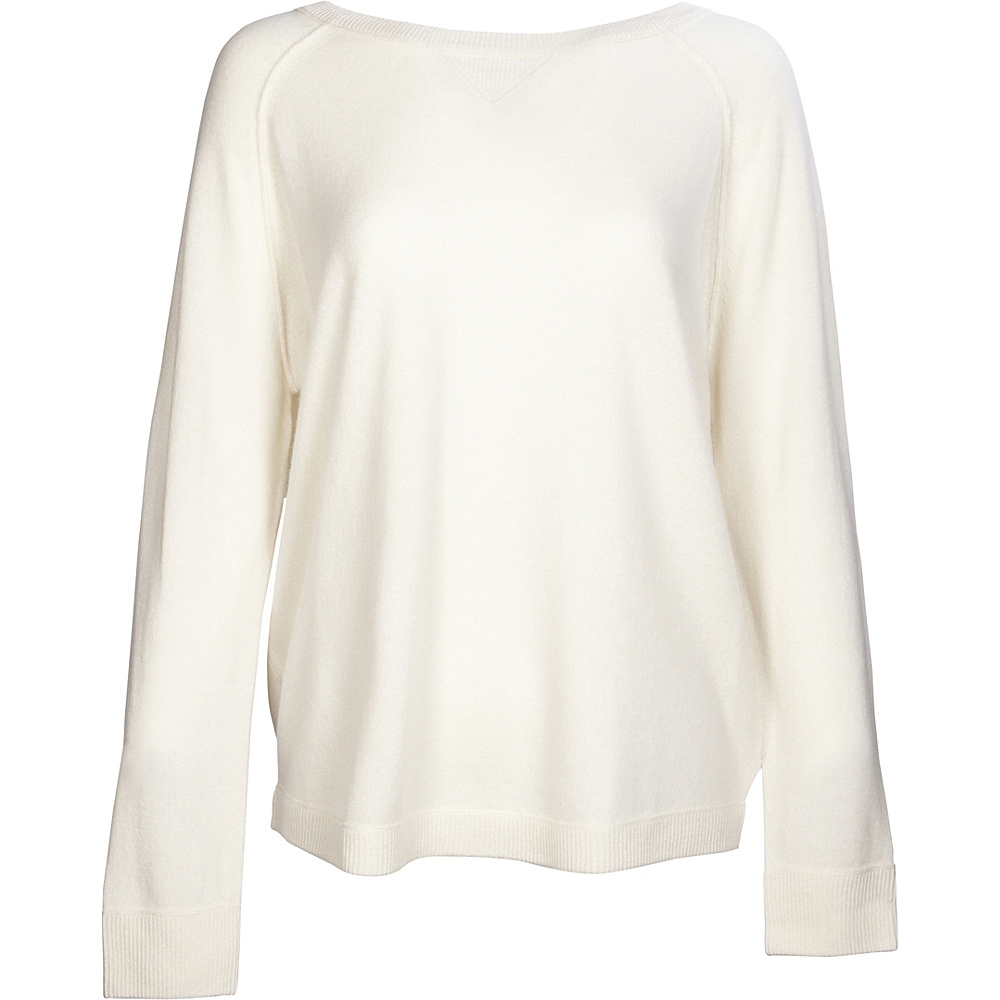 Kinross Cashmere Exposed Seam Sweatshirt XL - Ivory - Kinross Cashmere Womens Apparel - Apparel & Footwear, Women's Apparel