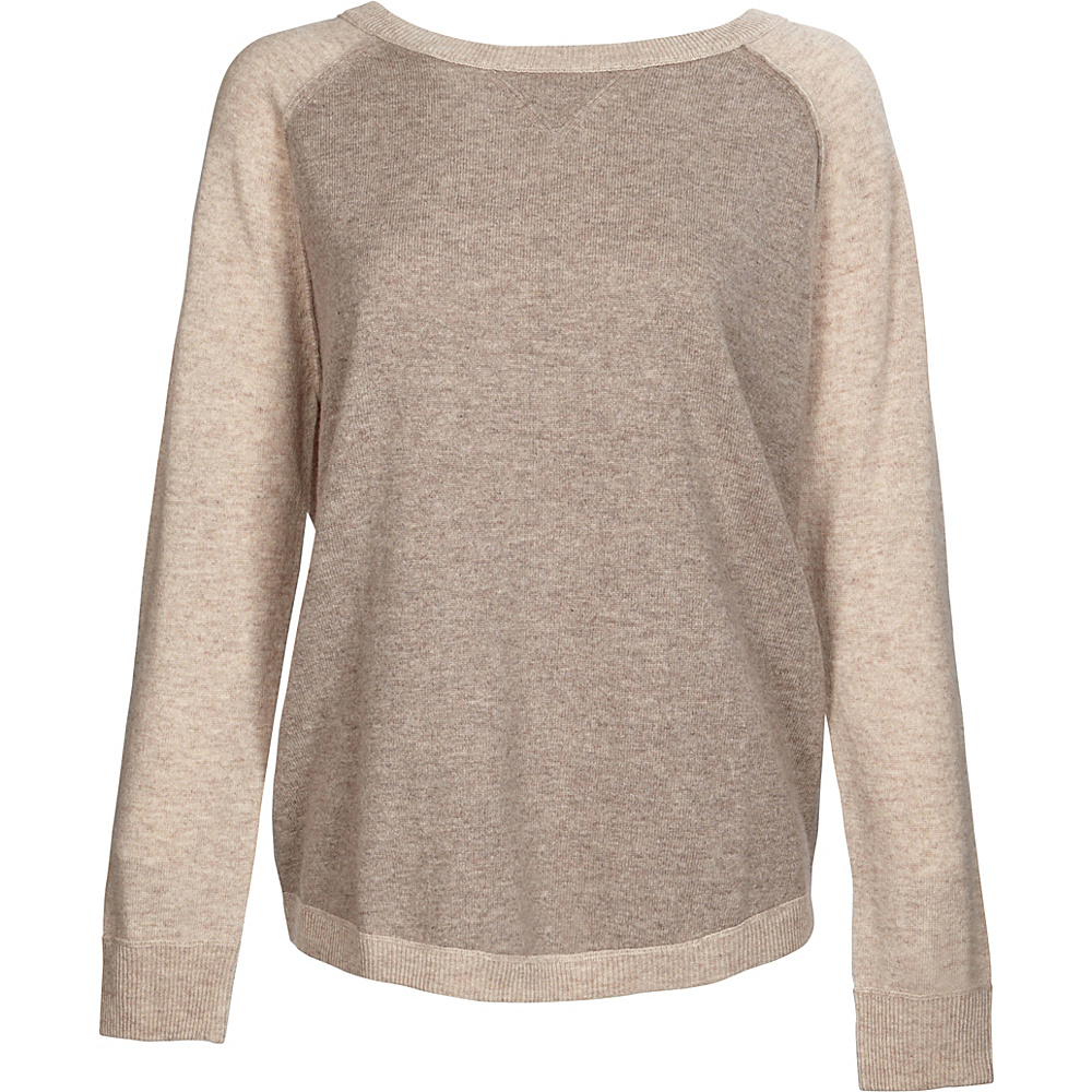 Kinross Cashmere Exposed Seam Sweatshirt XS - Antler/Fawn - Kinross Cashmere Womens Apparel - Apparel & Footwear, Women's Apparel
