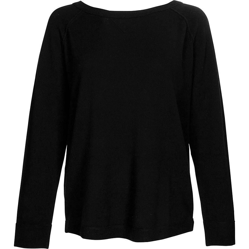 Kinross Cashmere Exposed Seam Sweatshirt S - Black - Kinross Cashmere Womens Apparel - Apparel & Footwear, Women's Apparel