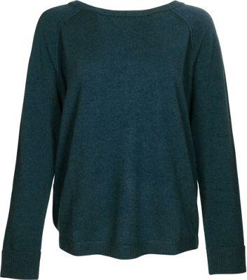 Kinross Cashmere Exposed Seam Sweatshirt L - Blue Spruce - Kinross Cashmere Women's Apparel