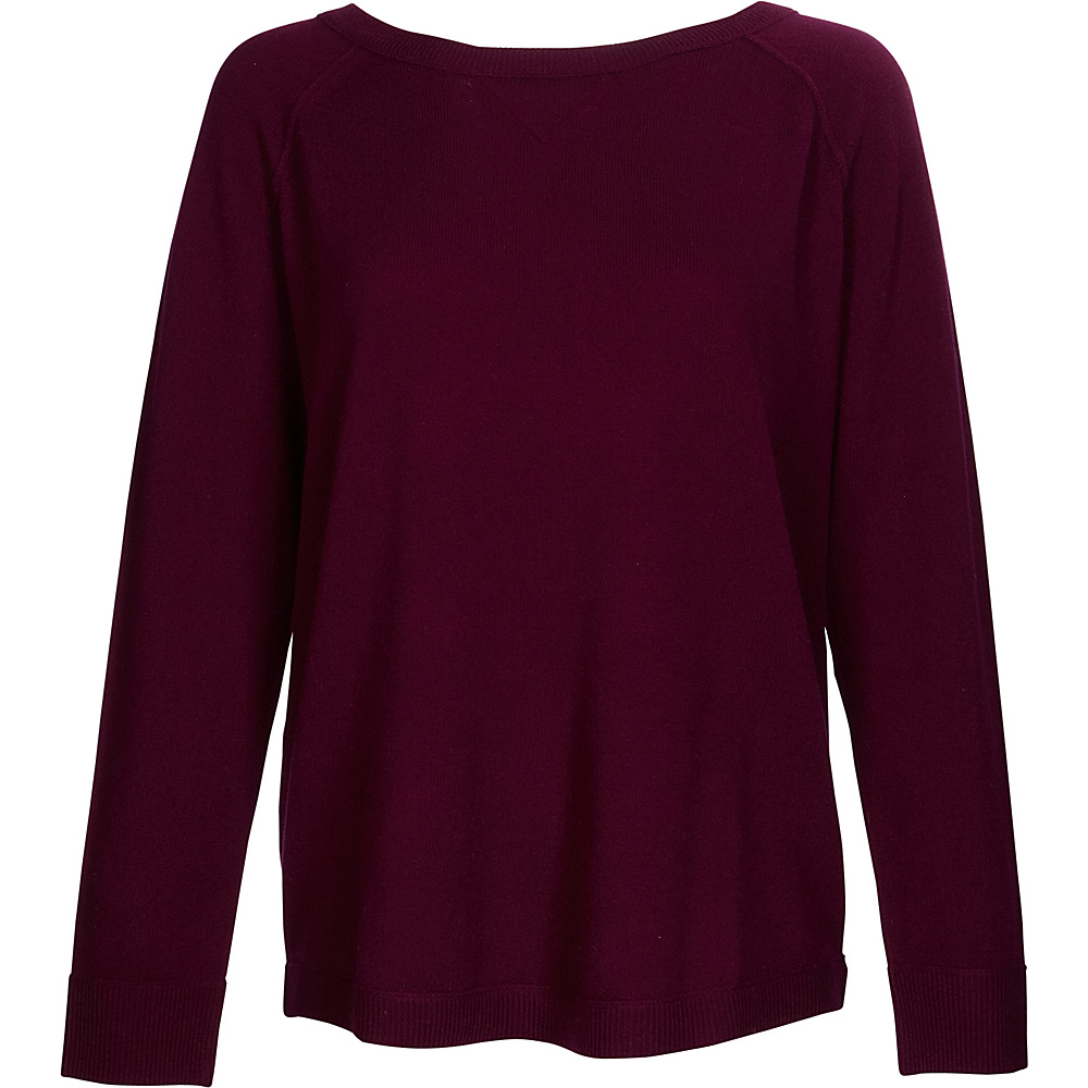 Kinross Cashmere Exposed Seam Sweatshirt S - Cassis - Kinross Cashmere Womens Apparel - Apparel & Footwear, Women's Apparel