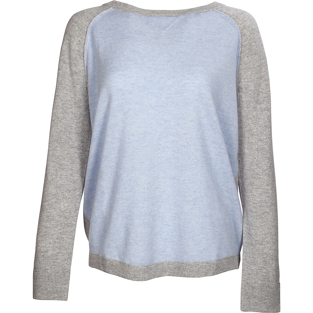 Kinross Cashmere Exposed Seam Sweatshirt S - Ceil/Sterling - Kinross Cashmere Womens Apparel - Apparel & Footwear, Women's Apparel