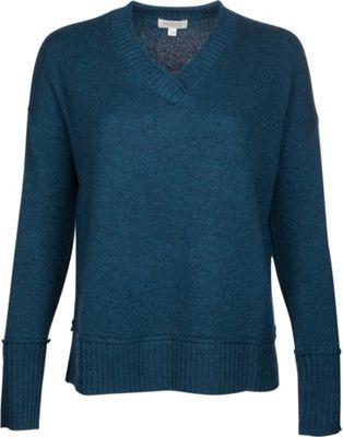 Kinross Cashmere Plaited V-Neck L - Blue Spruce - Kinross Cashmere Women's Apparel