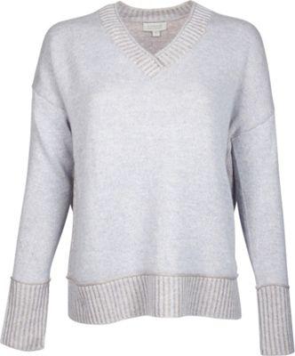Kinross Cashmere Plaited V-Neck XL - Ciel/Antler - Kinross Cashmere Women's Apparel