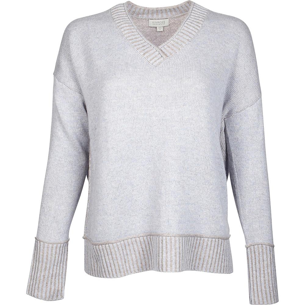 Kinross Cashmere Plaited V-Neck XS - Ciel/Antler - Kinross Cashmere Womens Apparel - Apparel & Footwear, Women's Apparel