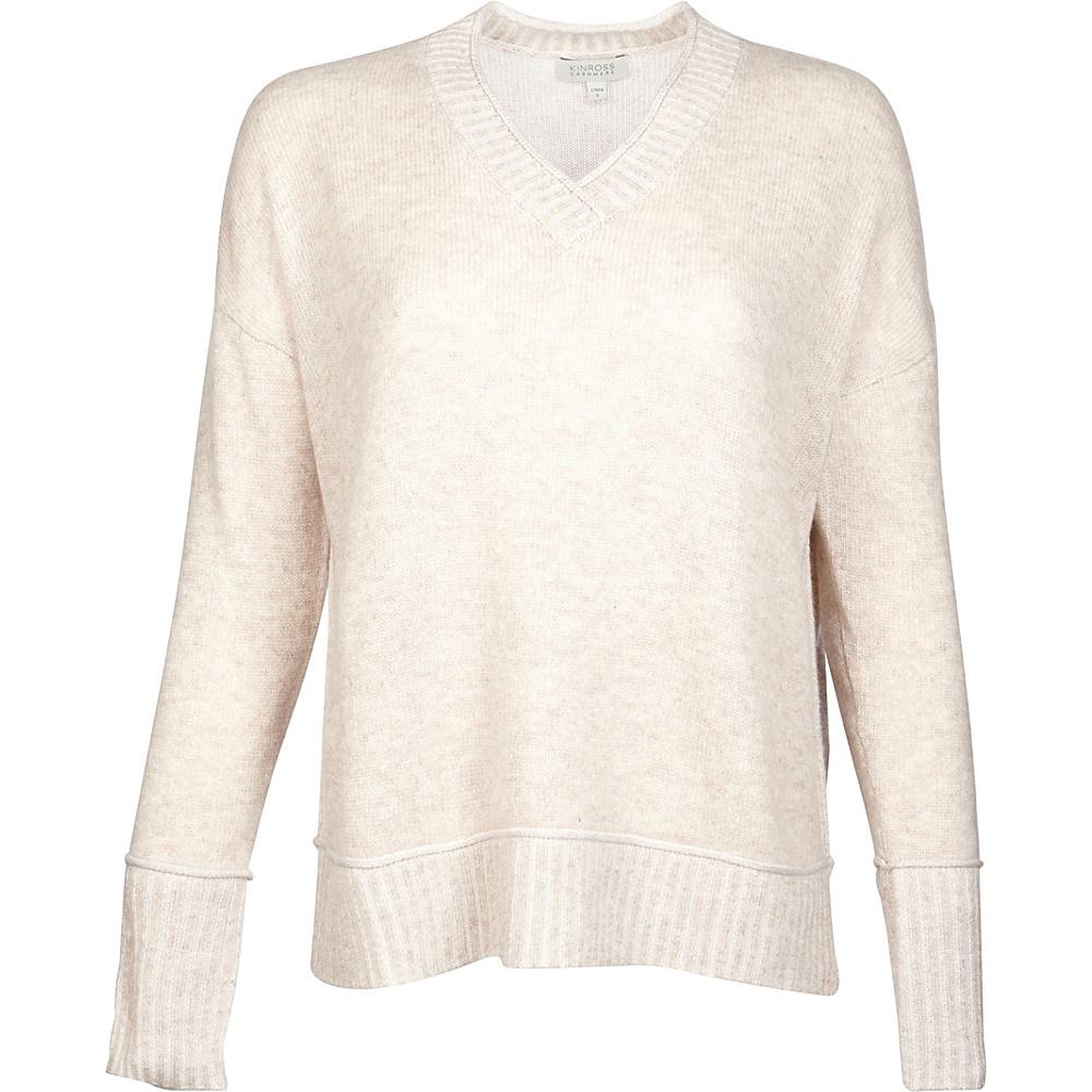 Kinross Cashmere Plaited V-Neck S - Fawn/Ivory - Kinross Cashmere Womens Apparel - Apparel & Footwear, Women's Apparel