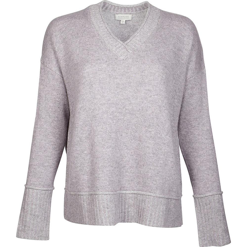 Kinross Cashmere Plaited V-Neck L - Thistle/Sterling - Kinross Cashmere Womens Apparel - Apparel & Footwear, Women's Apparel