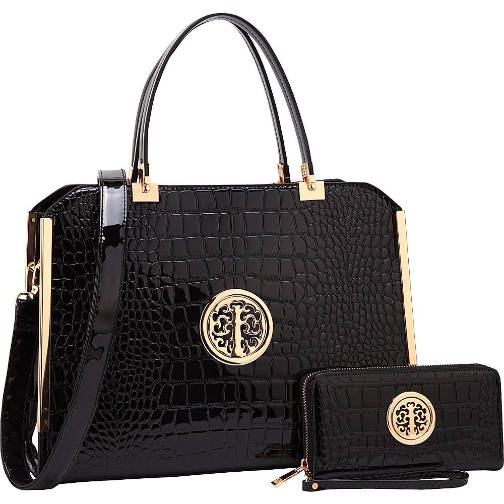 Dasein Rolled Handle Croco Leather Satchel with Matching Wallet Black - Dasein Manmade Handbags - Handbags, Manmade Handbags