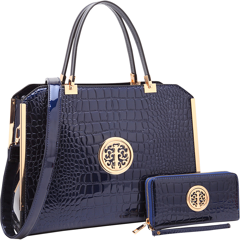 Dasein Rolled Handle Croco Leather Satchel with Matching Wallet Navy Blue - Dasein Manmade Handbags - Handbags, Manmade Handbags