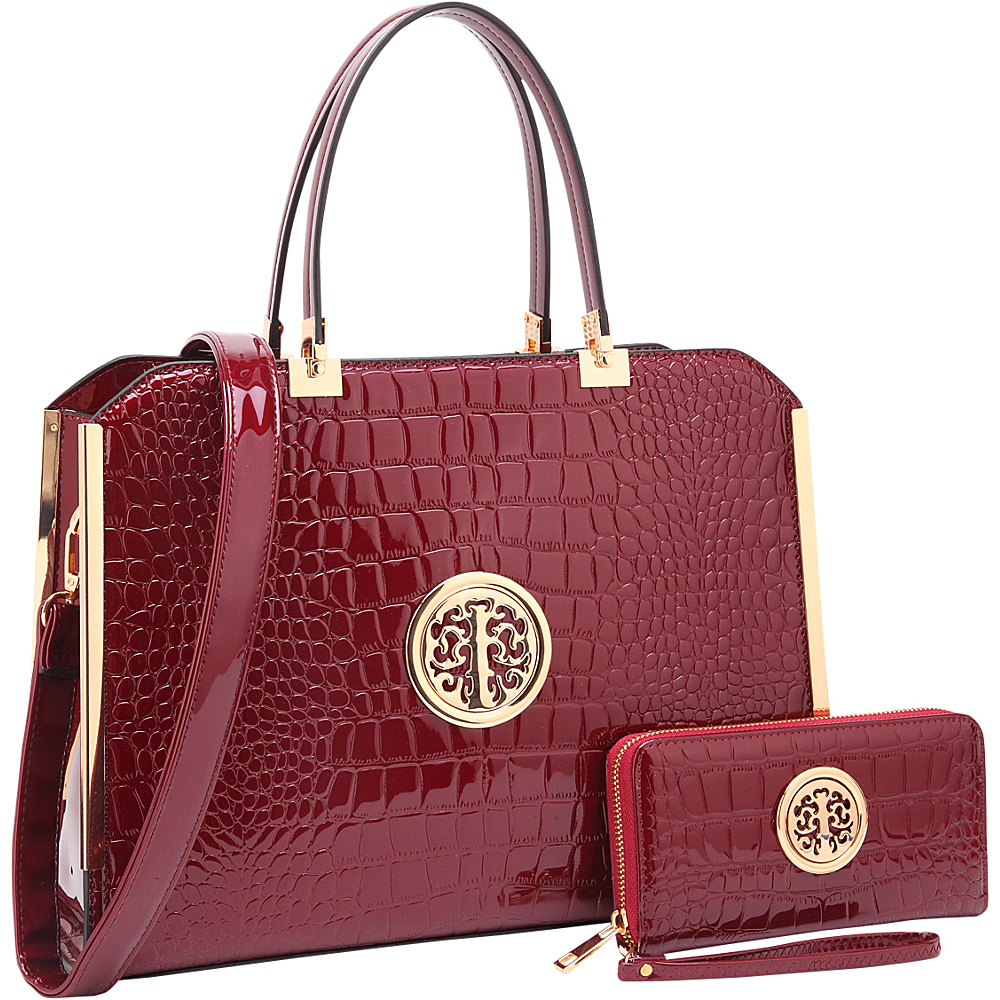 Dasein Rolled Handle Croco Leather Satchel with Matching Wallet Wine - Dasein Manmade Handbags - Handbags, Manmade Handbags