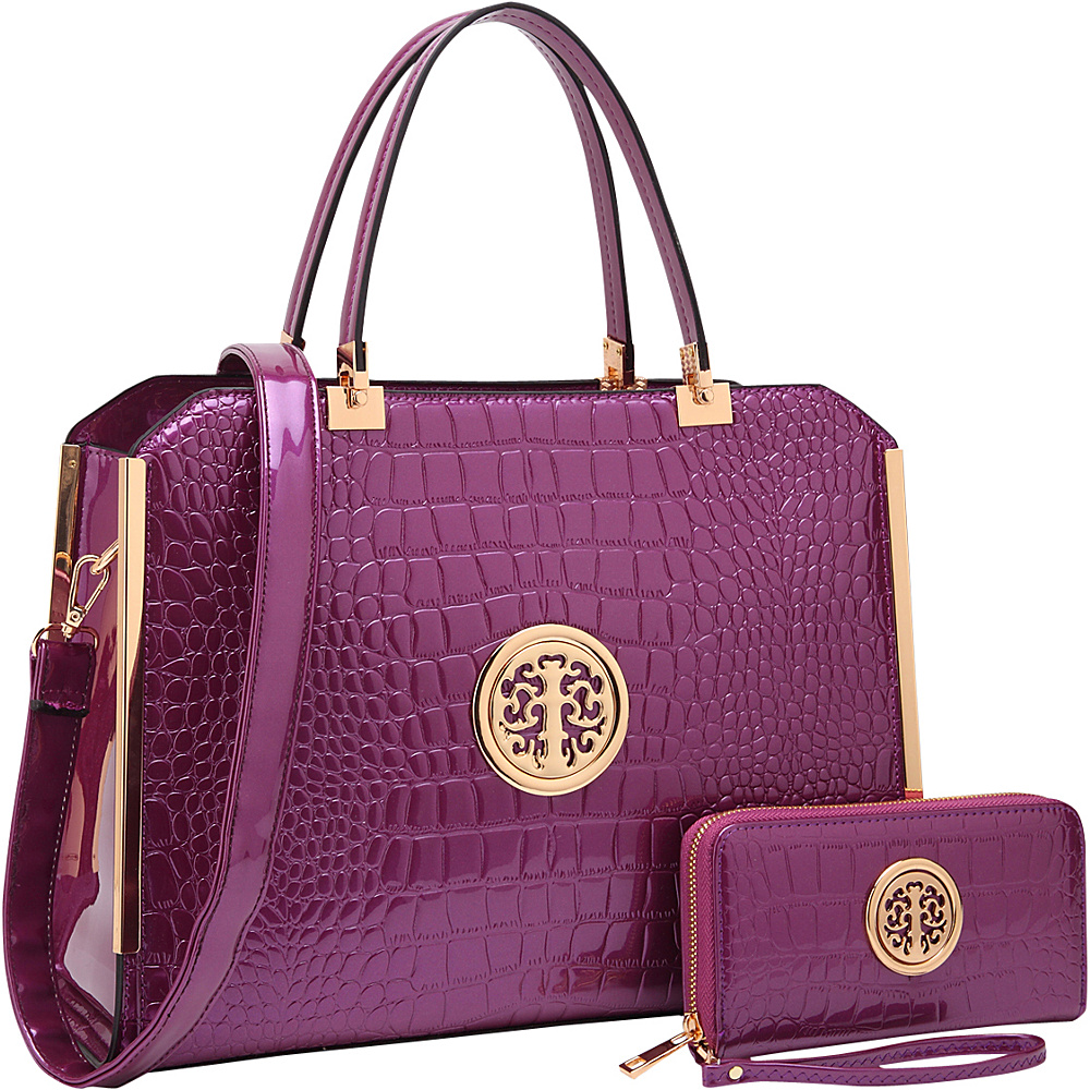 Dasein Rolled Handle Croco Leather Satchel with Matching Wallet Purple - Dasein Manmade Handbags - Handbags, Manmade Handbags