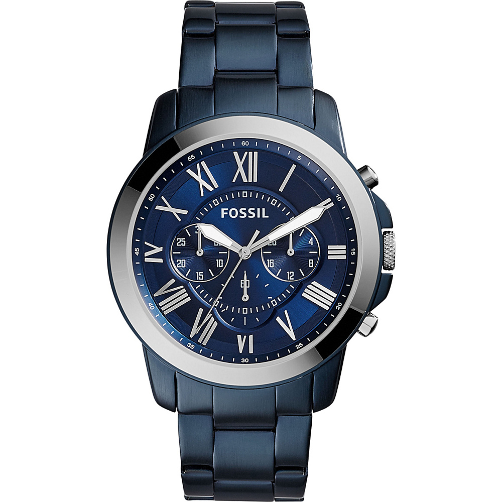 Fossil Grant Chronograph Stainless Steel Watch Blue - Fossil Watches - Fashion Accessories, Watches