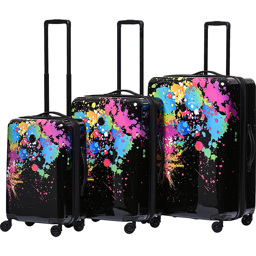 BODY GLOVE Long Lat Bursts 3 Piece Expandable Hardside Spinner Luggage Set Black Multi – BODY GLOVE Long Lat Luggage Sets