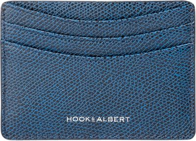 Hook & Albert Pebbled Leather Card Holder Navy - Hook & Albert Men's Wallets