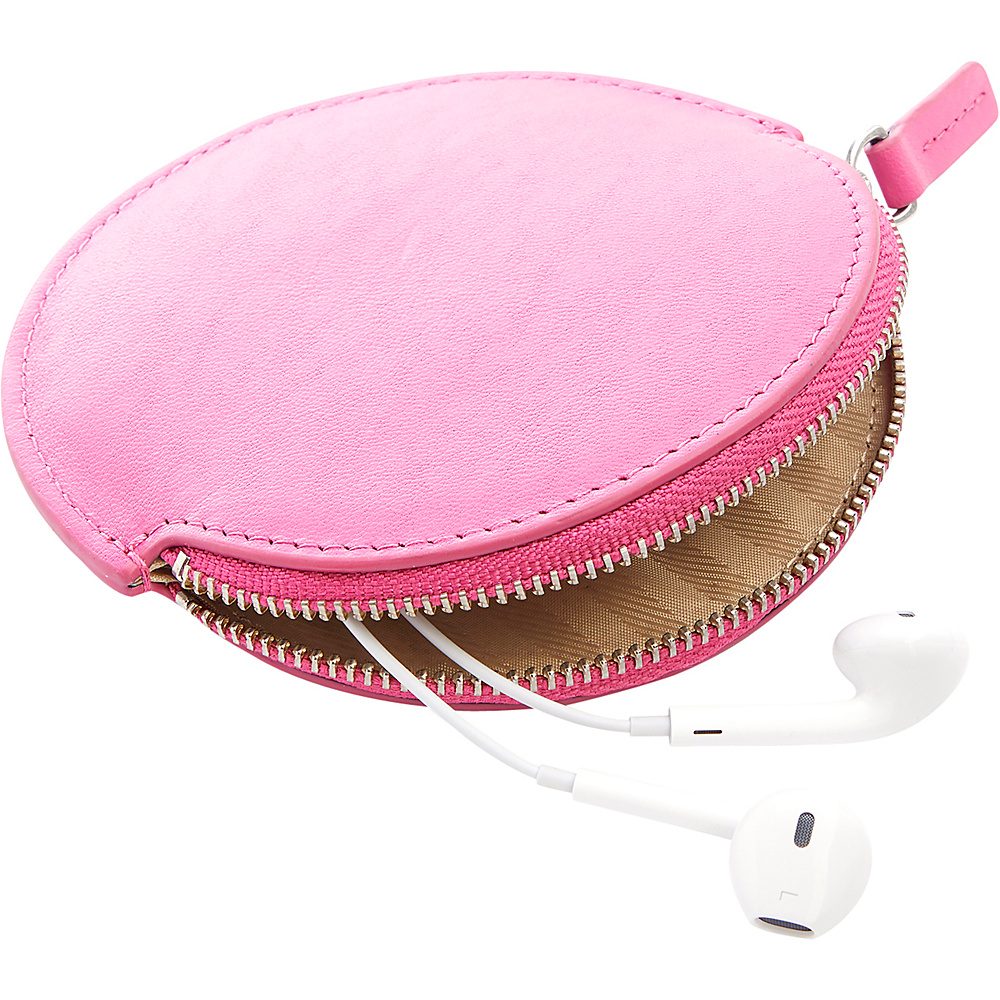 Royce Leather Circular Earbud Travel Case Wild Berry - Royce Leather Headphones & Speakers - Technology, Headphones & Speakers