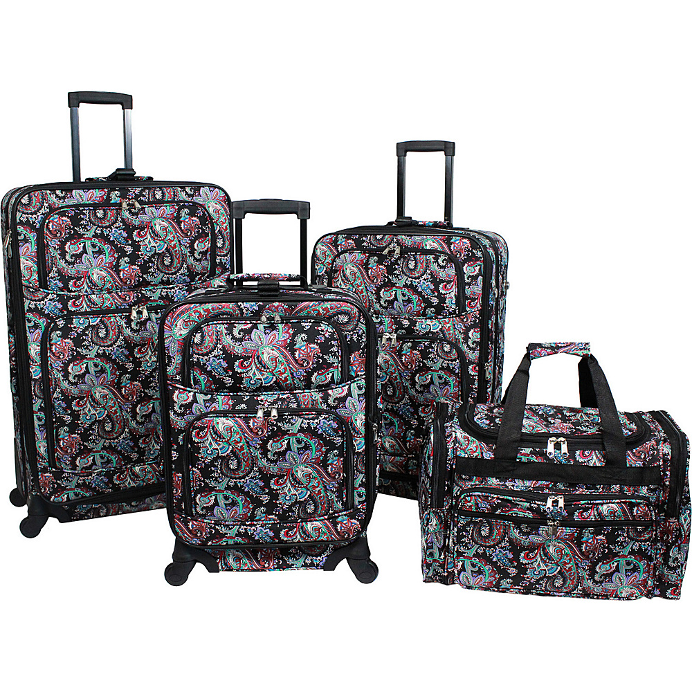 World Traveler Paisley 4 Piece Rolling Expandable Spinner Luggage Set Paisley - World Traveler Luggage Sets - Luggage, Luggage Sets