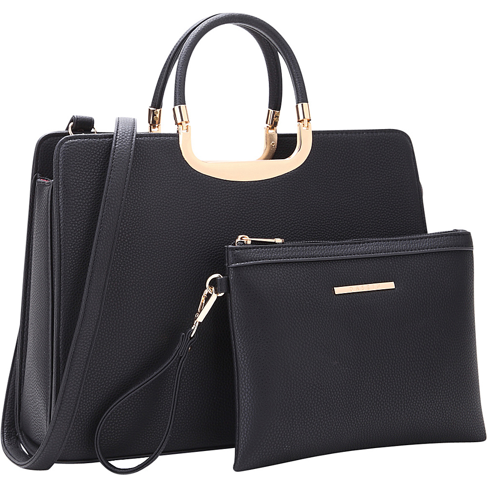 Dasein Fashion Briefcase Satchel with Matching Accessory Pouch Black - Dasein Manmade Handbags - Handbags, Manmade Handbags
