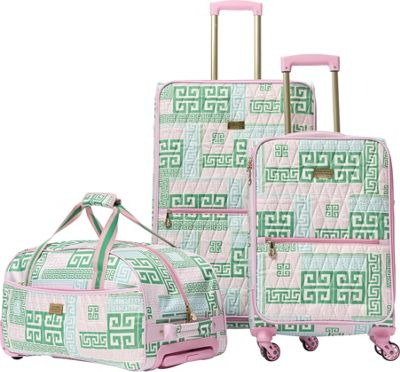 MacBeth PrepSet 3 Piece Luggage Set Green/Pink - MacBeth Luggage Sets