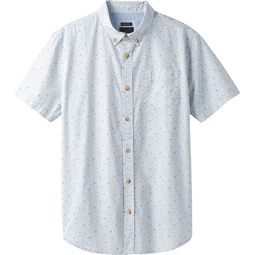 PrAna Broderick Floral Short Sleeve Slim Shirt L - Beaming Blue - PrAna Mens Apparel - Apparel & Footwear, Men's Apparel